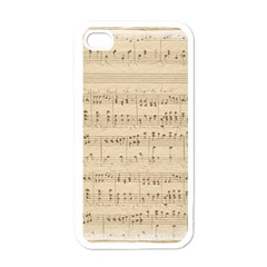 Vintage Beige Music Notes Apple Iphone 4 Case (white) by Celenk