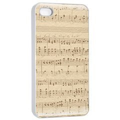 Vintage Beige Music Notes Apple Iphone 4/4s Seamless Case (white) by Celenk