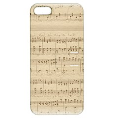 Vintage Beige Music Notes Apple Iphone 5 Hardshell Case With Stand