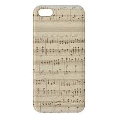 Vintage Beige Music Notes Apple Iphone 5 Premium Hardshell Case by Celenk