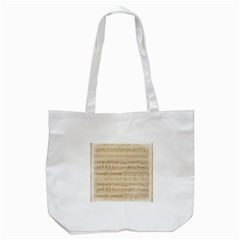 Vintage Beige Music Notes Tote Bag (white) by Celenk