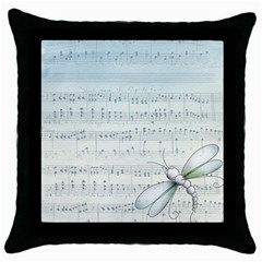 Vintage Blue Music Notes Throw Pillow Case (black)