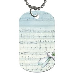 Vintage Blue Music Notes Dog Tag (two Sides) by Celenk
