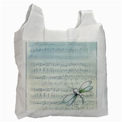 Vintage Blue Music Notes Recycle Bag (one Side)