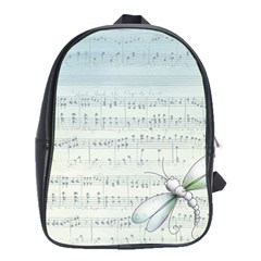 Vintage Blue Music Notes School Bag (large)
