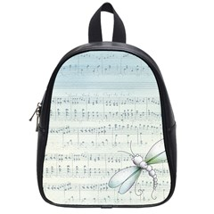 Vintage Blue Music Notes School Bag (small)