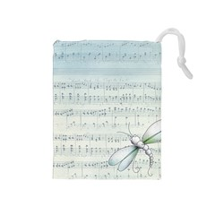 Vintage Blue Music Notes Drawstring Pouches (medium)  by Celenk