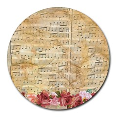 Background Old Parchment Musical Round Mousepads by Celenk