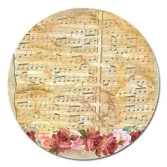 Background Old Parchment Musical Magnet 5  (round) by Celenk
