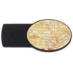 Background Old Parchment Musical Usb Flash Drive Oval (2 Gb) by Celenk