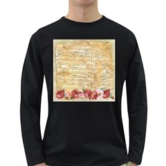 Background Old Parchment Musical Long Sleeve Dark T Shirts