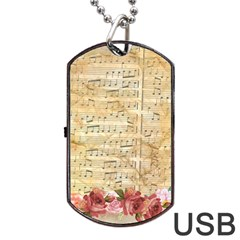 Background Old Parchment Musical Dog Tag Usb Flash (one Side) by Celenk