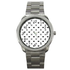 Black Pixel Skull Pirate Sport Metal Watch by jumpercat