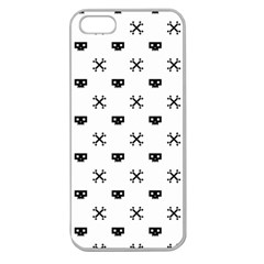 Black Pixel Skull Pirate Apple Seamless Iphone 5 Case (clear) by jumpercat