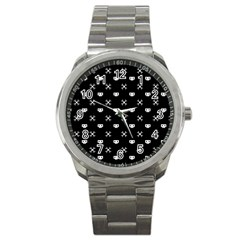 White Pixel Skull Pirate Sport Metal Watch by jumpercat
