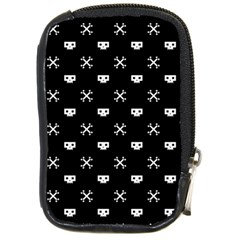 White Pixel Skull Pirate Compact Camera Cases by jumpercat