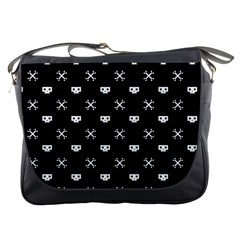 White Pixel Skull Pirate Messenger Bags by jumpercat