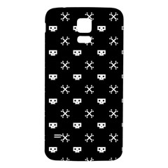 White Pixel Skull Pirate Samsung Galaxy S5 Back Case (white)