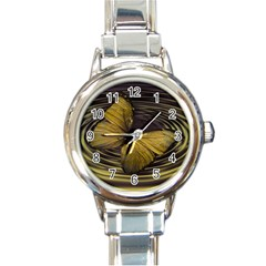Butterfly Insect Wave Concentric Round Italian Charm Watch by Celenk