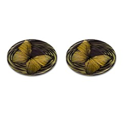 Butterfly Insect Wave Concentric Cufflinks (oval) by Celenk