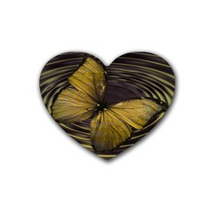 Butterfly Insect Wave Concentric Heart Coaster (4 Pack)  by Celenk