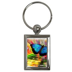 Blue Morphofalter Butterfly Insect Key Chains (rectangle)