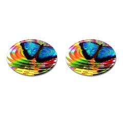 Blue Morphofalter Butterfly Insect Cufflinks (oval) by Celenk