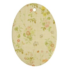 Floral Wallpaper Flowers Vintage Oval Ornament (two Sides)