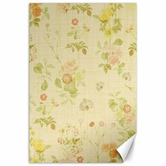 Floral Wallpaper Flowers Vintage Canvas 24  X 36  by Celenk