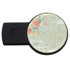 Vintage Floral Background Paper Usb Flash Drive Round (4 Gb)