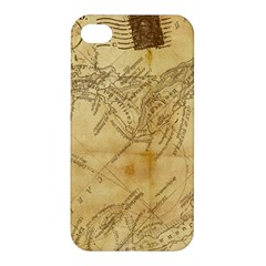 Vintage Map Background Paper Apple Iphone 4/4s Premium Hardshell Case by Celenk
