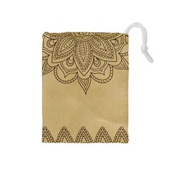 Vintage Background Paper Mandala Drawstring Pouches (medium)  by Celenk