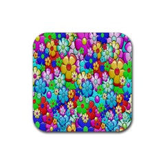 Flowers Ornament Decoration Rubber Square Coaster (4 Pack)  by Celenk