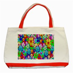 Flowers Ornament Decoration Classic Tote Bag (red)
