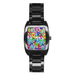Flowers Ornament Decoration Stainless Steel Barrel Watch