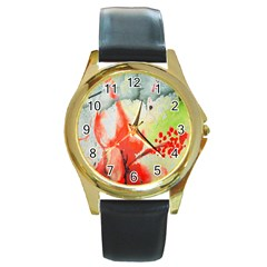 Fabric Texture Softness Textile Round Gold Metal Watch