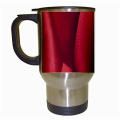 Red Fabric Textile Macro Detail Travel Mugs (white) by Celenk