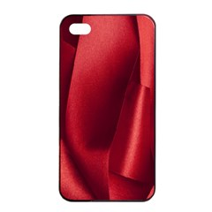 Red Fabric Textile Macro Detail Apple Iphone 4/4s Seamless Case (black) by Celenk