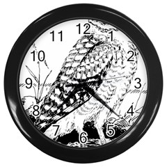 Animal Bird Forest Nature Owl Wall Clocks (black)