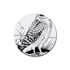 Animal Bird Forest Nature Owl Rubber Coaster (round)  by Celenk