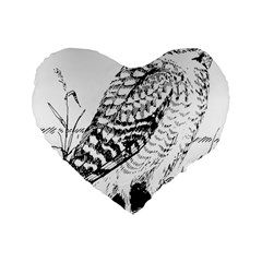 Animal Bird Forest Nature Owl Standard 16  Premium Flano Heart Shape Cushions by Celenk