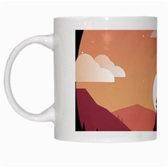 Design Art Hill Hut Landscape White Mugs by Celenk