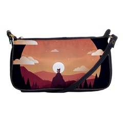 Design Art Hill Hut Landscape Shoulder Clutch Bags by Celenk