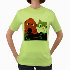 Baby Decoration Cat Dog Stuff Women s Green T Shirt by Celenk