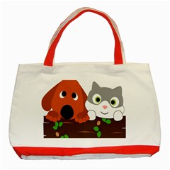 Baby Decoration Cat Dog Stuff Classic Tote Bag (red) by Celenk