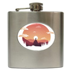 Design Art Hill Hut Landscape Hip Flask (6 Oz) by Celenk