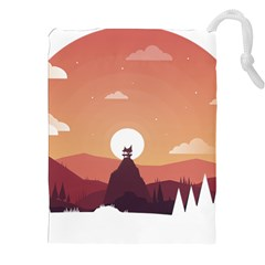 Design Art Hill Hut Landscape Drawstring Pouches (xxl) by Celenk
