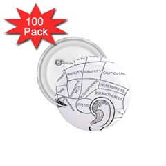 Brain Chart Diagram Face Fringe 1 75  Buttons (100 Pack)  by Celenk