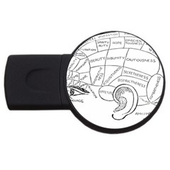 Brain Chart Diagram Face Fringe Usb Flash Drive Round (2 Gb) by Celenk
