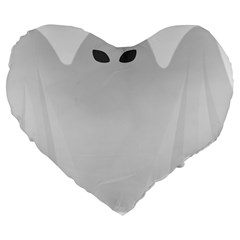 Ghost Halloween Spooky Horror Fear Large 19  Premium Heart Shape Cushions by Celenk